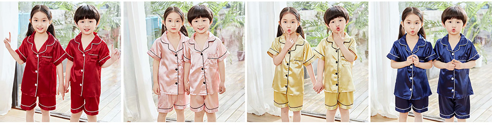 Summer Minimalist Pajamas Suit for Boys Girls, Open Shirts and Lapels Nightclothes, Silk-like Household Suit 2