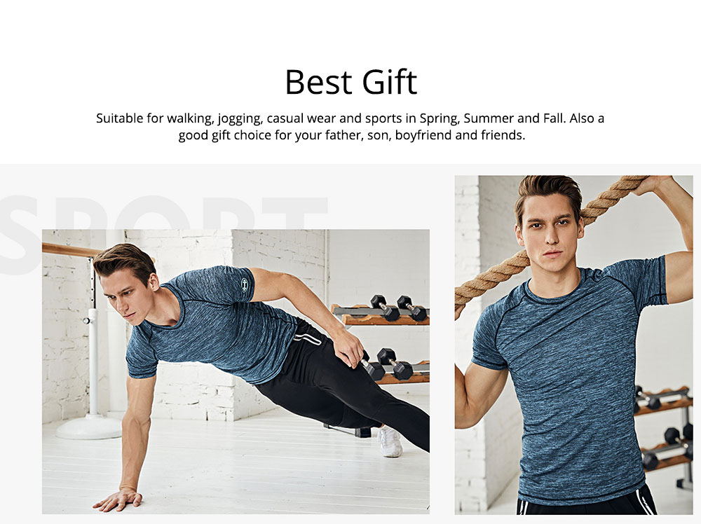 Men's 2-Piece Sports Outfit, Sport Casual Short Sleeve Tops + Short Pants, Men's Sports Tracksuit  5