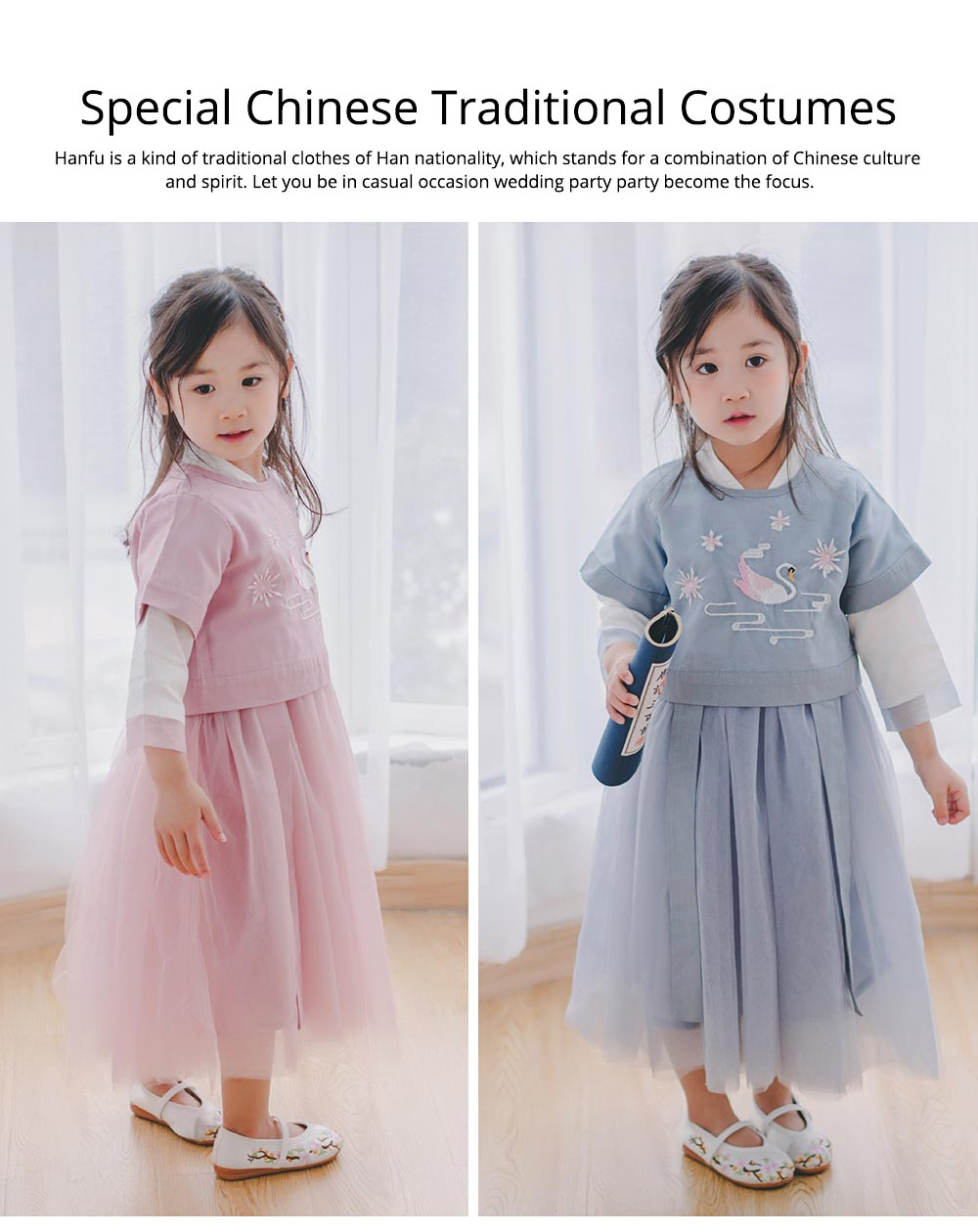 Chinese Dress for Baby Girl, Retro Improved Cheongsam Costume, Genuine Original Embroidered Tops+Tutu Dress 1