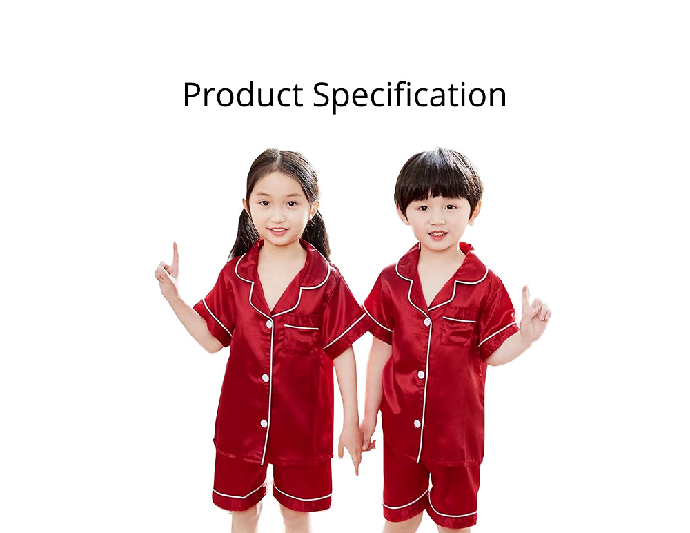 Summer Minimalist Pajamas Suit for Boys Girls, Open Shirts and Lapels Nightclothes, Silk-like Household Suit 7