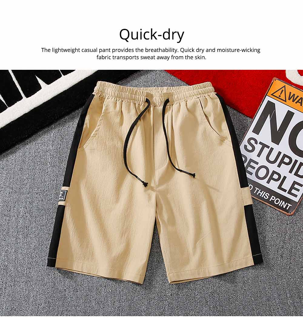 Men's Cotton Casual Shorts with Elastic Waist Drawstring, Classic Fit Short Summer Beach Shorts for Youth Men 4
