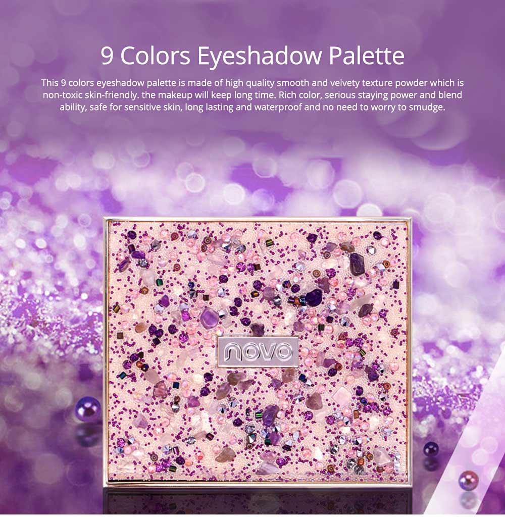 9 Colors Eyeshadow, Palette Glitter Velvet Texture Mixed Eye Makeup, Long Lasting Eye Shadow Tray Best Gift for Women 0