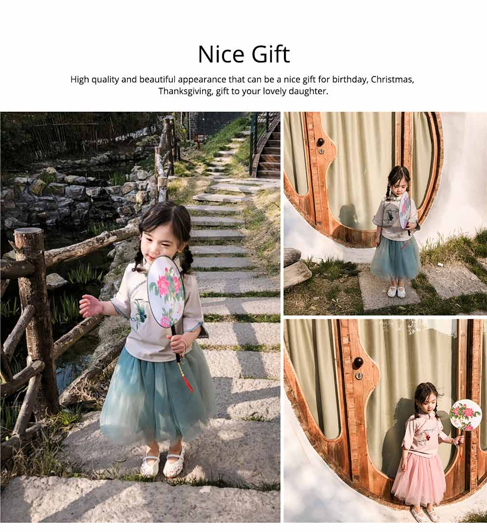 Baby Girls' Ethnic Sets Two-Piece Improved Hanfu Traditional Costume Stand Collar Embroidered Tops + Skirt 5