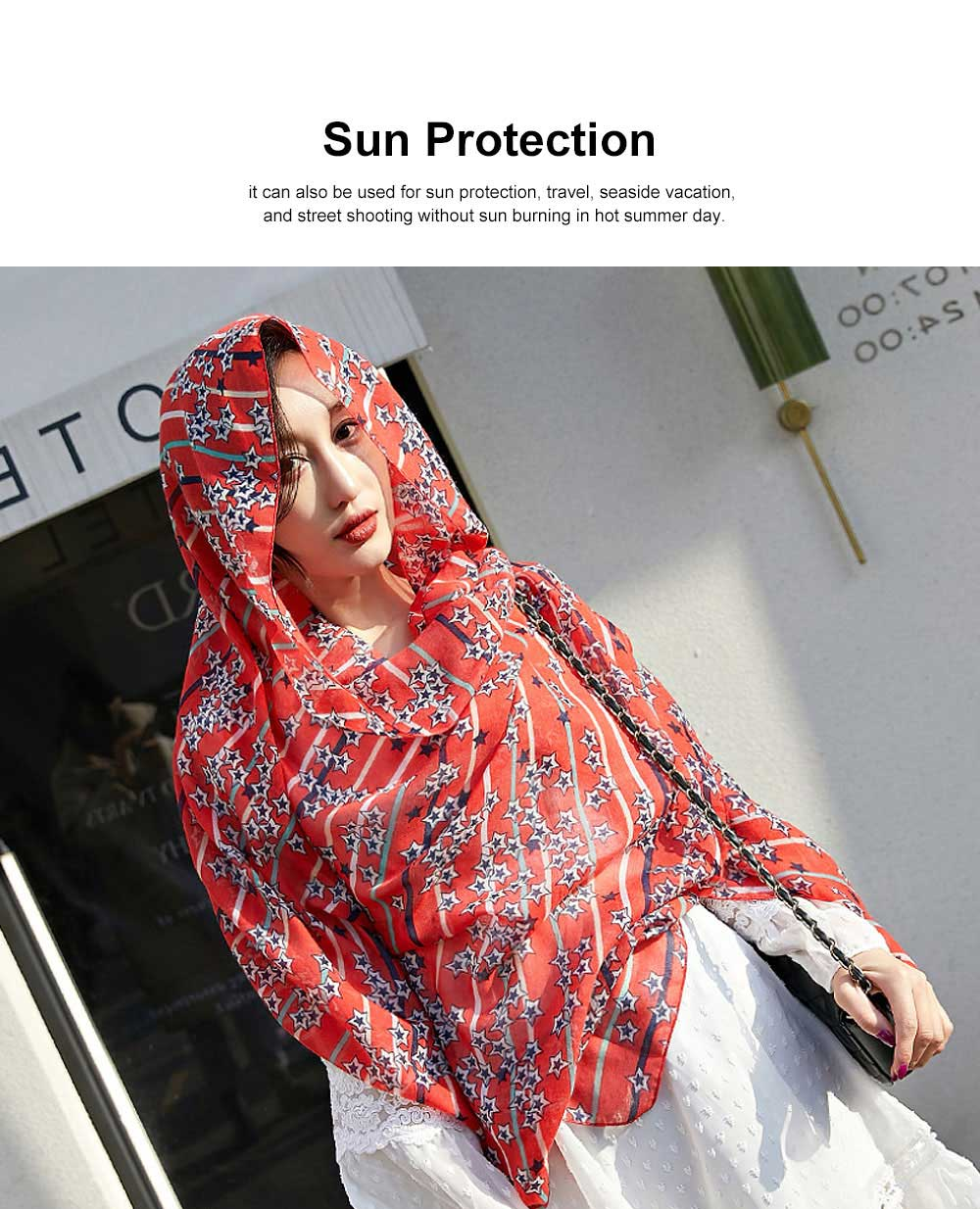Women Cotton Linen Scarves Wild Print Sunscreen Beach Cover-up Shawl Fashion Accessories Best Gifts for women 2