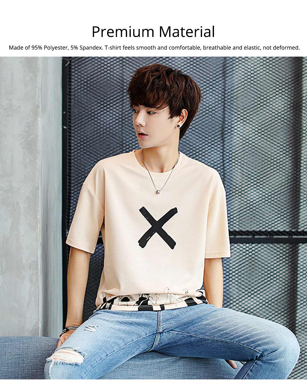 Men's Casual T-shirt, Short Sleeve Men's Tees, Fashion Stretch Creative Pattern Quick-dry T-shirts for Men 3