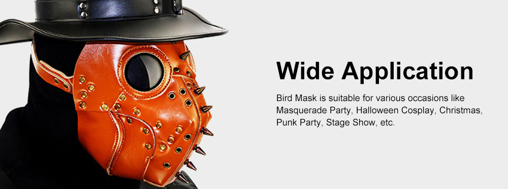Plague Doctor Bird Head Mask Long Nose Steampunk Rivet Mask Breathable PU Leather Mask for Halloween Costume 5