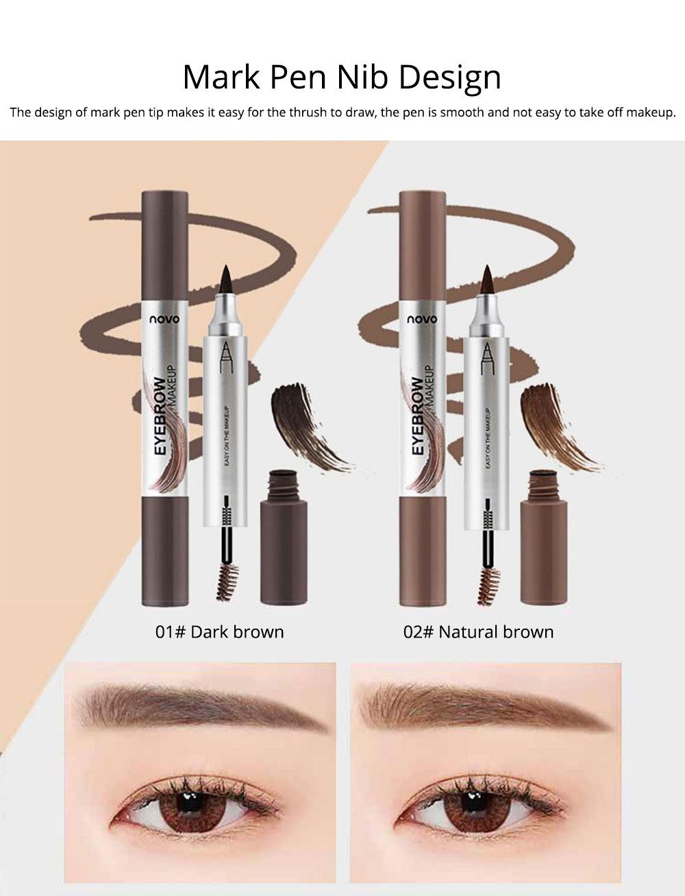 Dye Cream Eyebrow, Mark Pen Nib Eyebrow Pencil, Waterproof Eyebrow Pencil with Brush 2 Colors Available 1