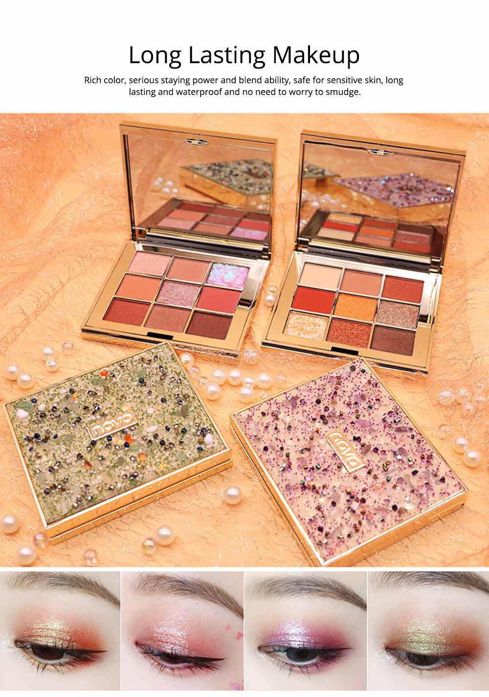 9 Colors Eyeshadow, Palette Glitter Velvet Texture Mixed Eye Makeup, Long Lasting Eye Shadow Tray Best Gift for Women 1