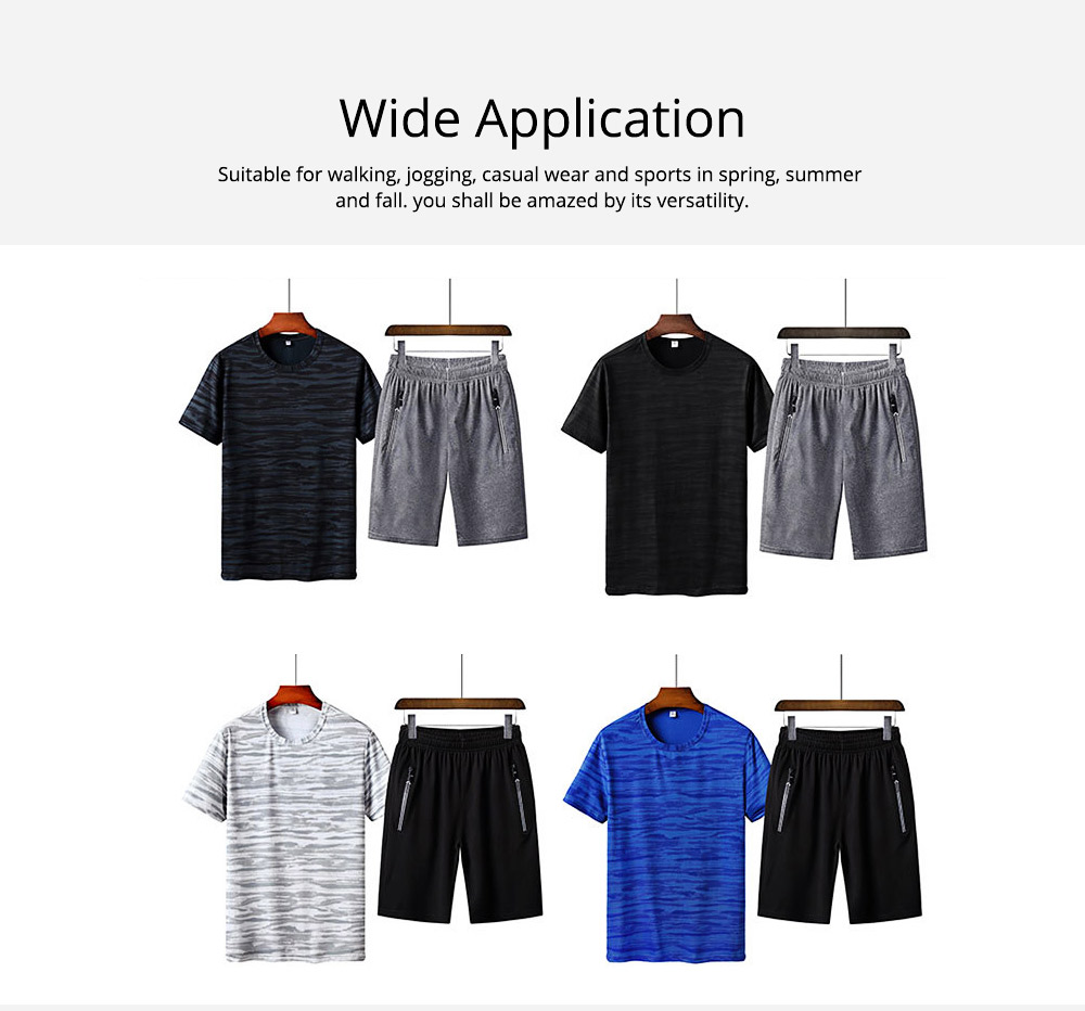 Men's 2-Piece Sports Sets, Quick-dry Sport Outfits, Casual Short Sleeve Tops + Short Pants Tracksuit for Men 5