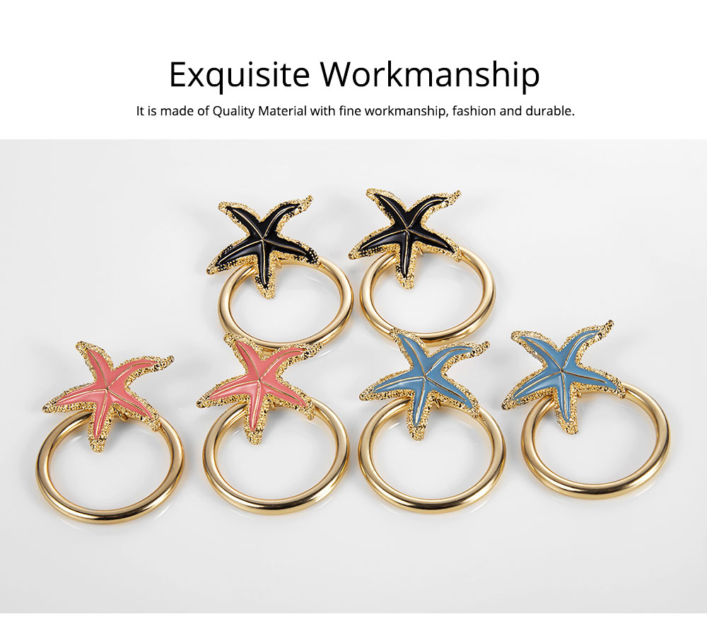 Starfish Earrings with Big Ring, Lovely Ocean Star Post Earring, Fashionable Earring for Girls Women Lady 4