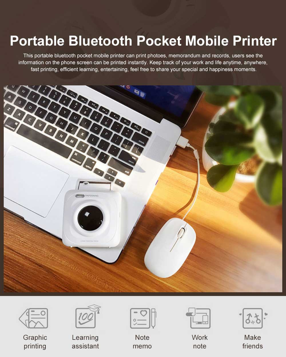 Portable Mobile Bluetooth Receipt Pocket Printer Multifunctional Mini Printer Compatible with Android iOS Devices 0