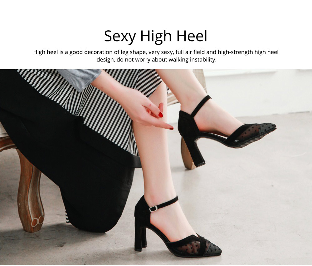 Lady Shallow Pointed Thick High Heels, One-word Buckle Hollow Single Shoe, Style Sandals 2019 Summer 2