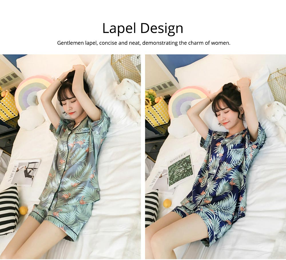 Women Summer Pajamas, Open-top Lapel Silk-like Short Sleeves, Printed Household Clothing for Lady Girl 3