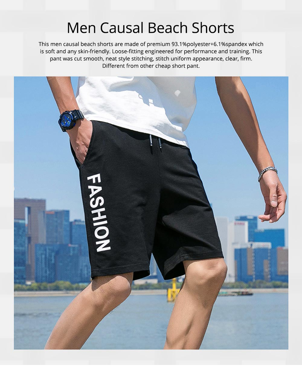 Men Summer Short Pants with Pockets, Causal Beach Shorts with Elastic Waist Drawstring, Lightweight Loose Shorts 0