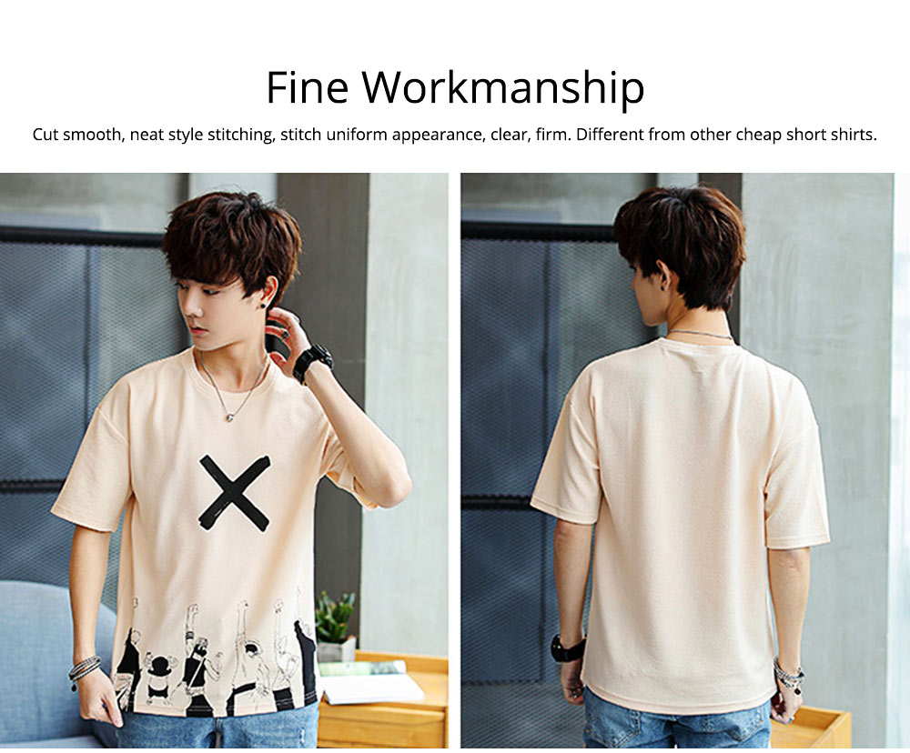 Men's Casual T-shirt, Short Sleeve Men's Tees, Fashion Stretch Creative Pattern Quick-dry T-shirts for Men 5
