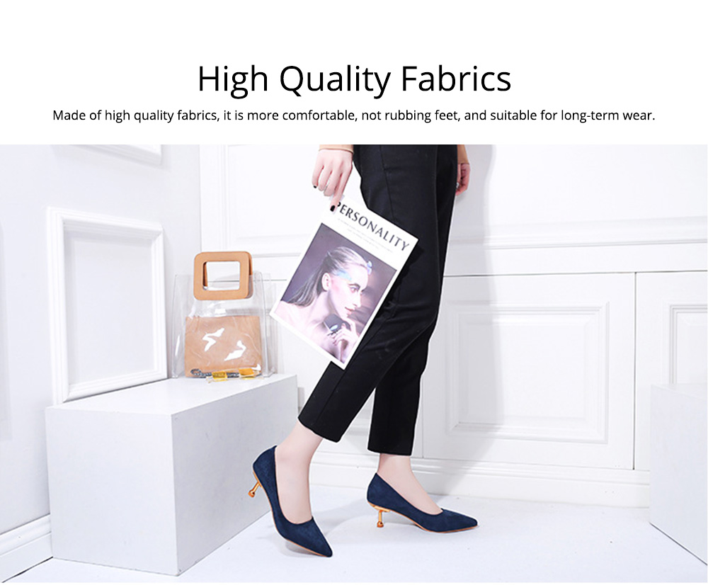 Spring Pointed Slim-heeled Single Shoes, Suede Ladies High-heeled Shoes in 2019, Lady's Black High-heeled Shoes 6CM 5