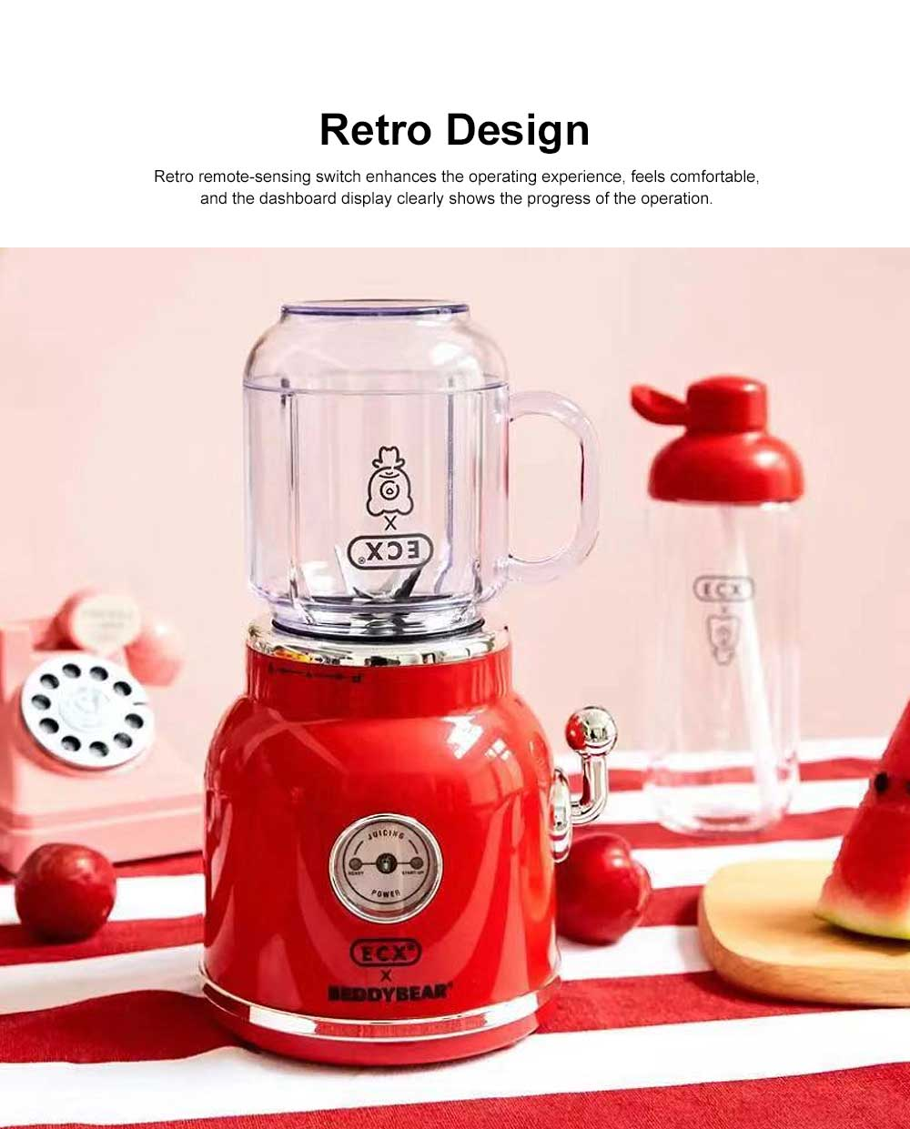 Retro Fruit Juicer Portable High Speed Hand Mini Blender Portable Juice Cup for Home Office Gift with 2 Cups 2