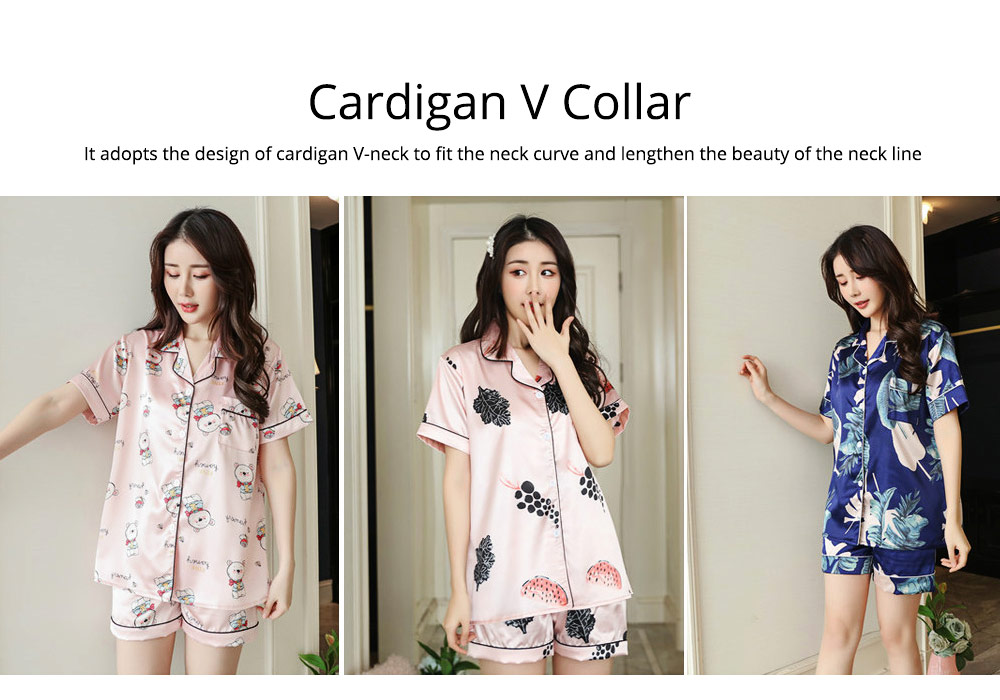 Women Summer Pajamas, Open-top Lapel Silk-like Short Sleeves, Printed Household Clothing for Lady Girl 1