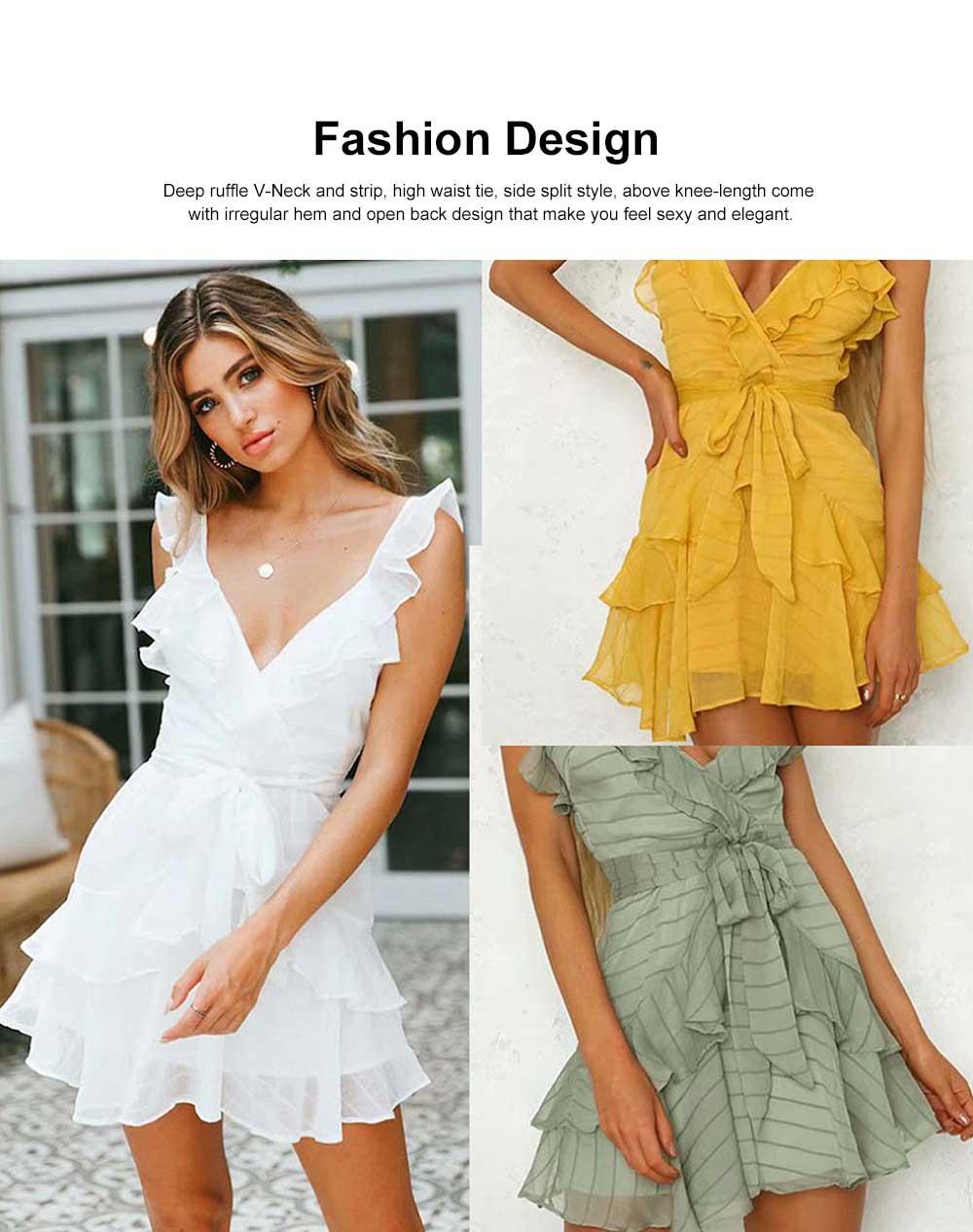 Women Summer Mini Dress Ruffle V-neck Side Split Sleeveless Boho Dress High Waist Tie A Line Sweat Beach Dresses Best Gifts for Women 2