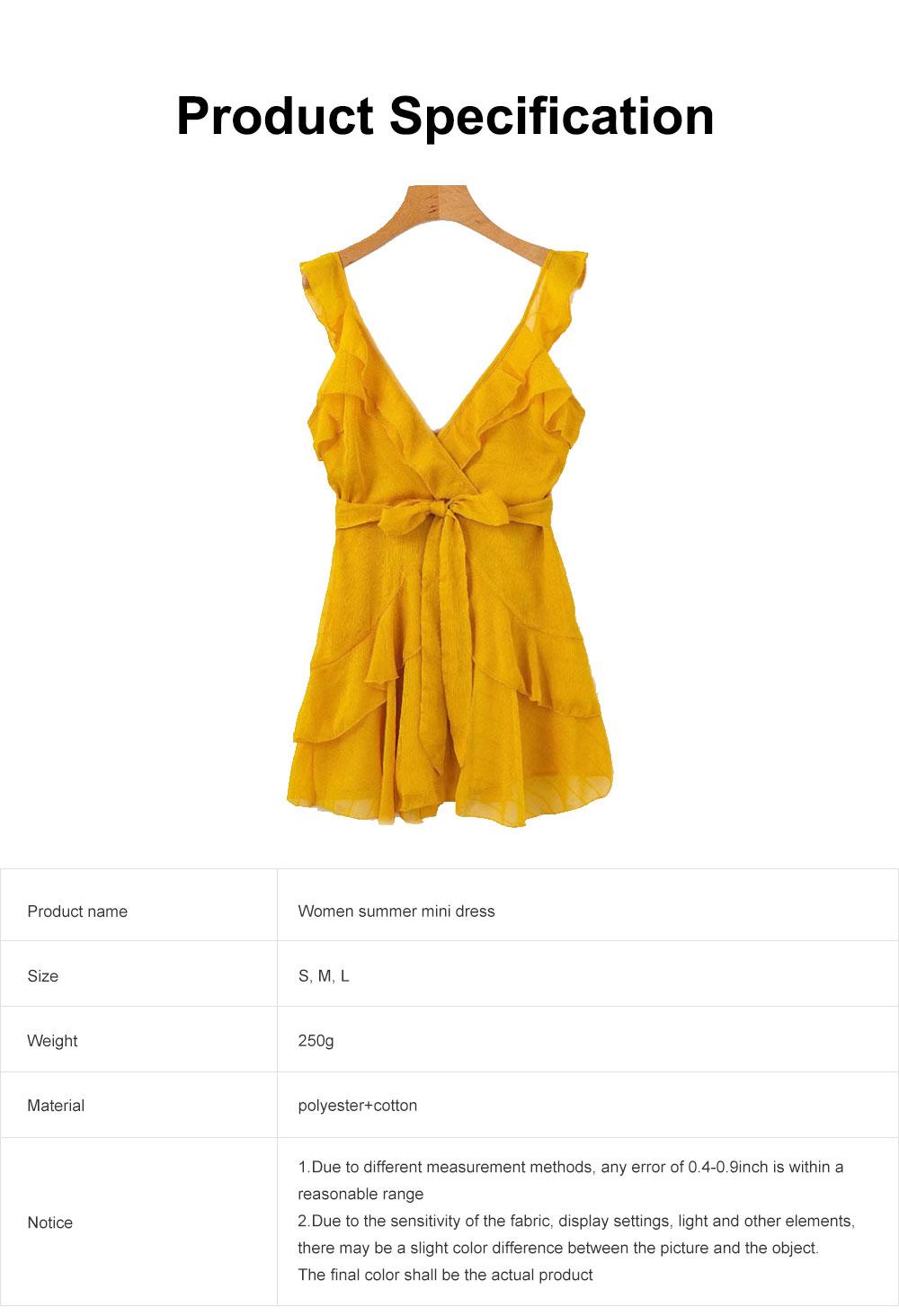 Women Summer Mini Dress Ruffle V-neck Side Split Sleeveless Boho Dress High Waist Tie A Line Sweat Beach Dresses Best Gifts for Women 6