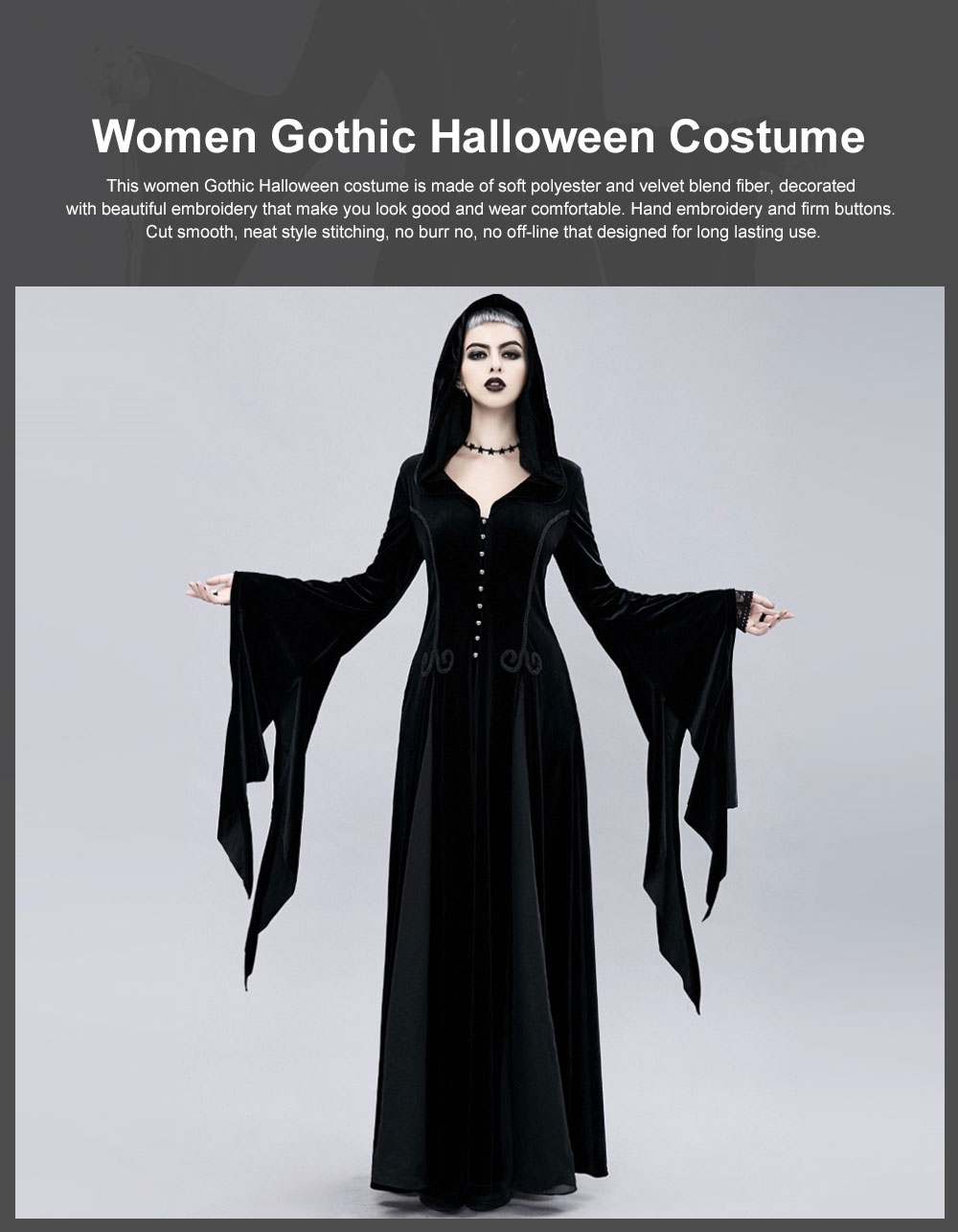 Women Gothic Halloween Costume, Renaissance Medieval Cosplay Dress Black, Long Sleeve Hooded Witch Dress Victorian Costume 0