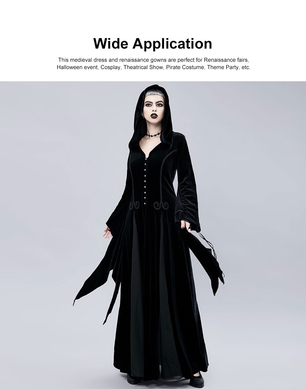 Women Gothic Halloween Costume, Renaissance Medieval Cosplay Dress Black, Long Sleeve Hooded Witch Dress Victorian Costume 3