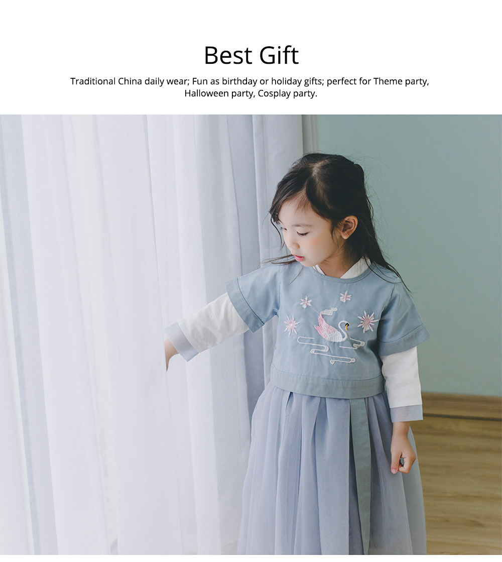 Chinese Dress for Baby Girl, Retro Improved Cheongsam Costume, Genuine Original Embroidered Tops+Tutu Dress 5