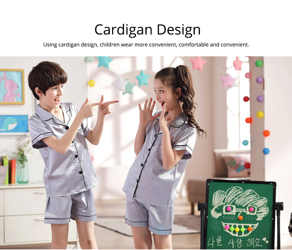Summer Minimalist Pajamas Suit for Boys Girls, Open Shirts and Lapels Nightclothes, Silk-like Household Suit 1