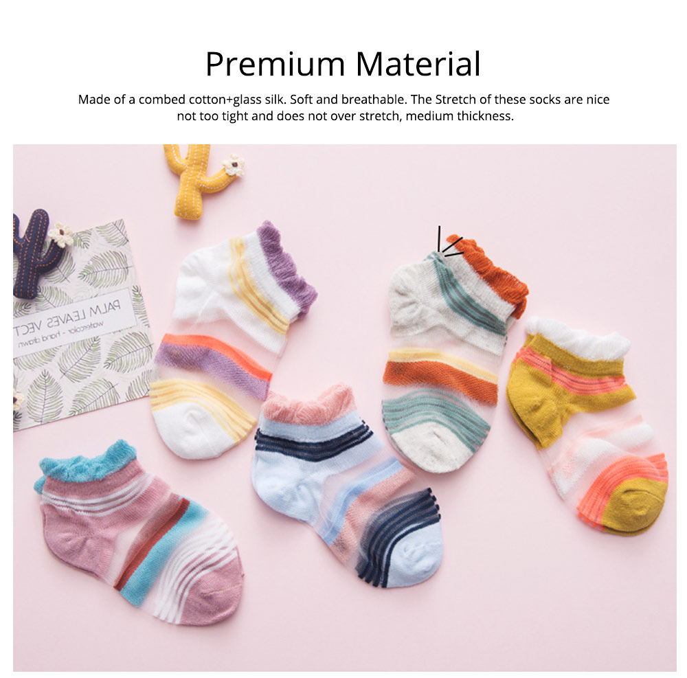 5 Pairs Baby Boy Girl Ankle Socks, Anti Slip Non Skid Breathable Cotton Summer Socks, Cute Cat Pattern Kids Accessories 3