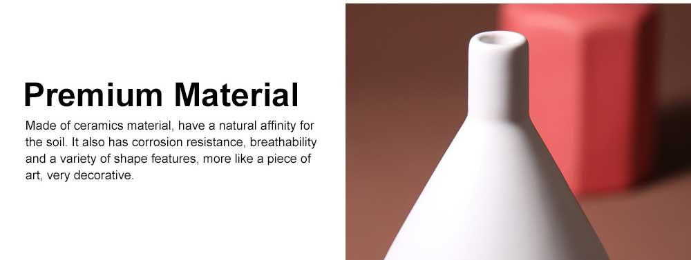 Ceramic Flower Pot Vase Matte Frosted Flower Pot Long & Short Pure Color Vase for Desktop Home Decor Gifts 4
