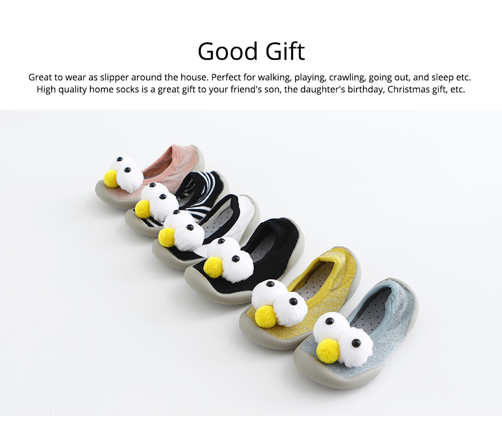 Baby Toddler Walking Shoes, Non-skid Socks Rubber Sole Breathable Cotton Indoor Floor Slipper, Walk Socks Shoes 5