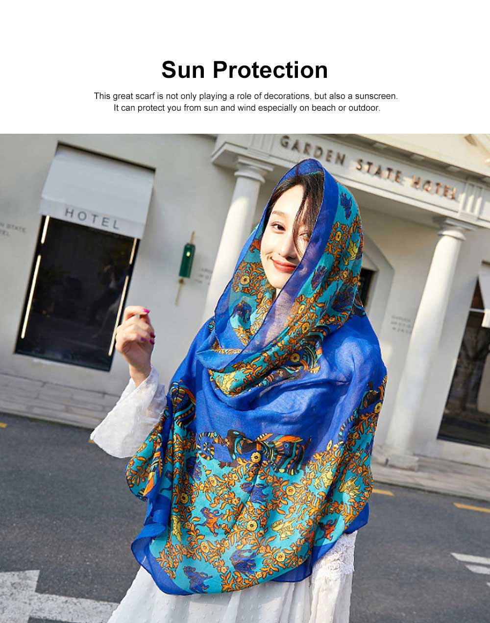 Women Printing Scarves Large Sunscreen Shawl Beach Cover-up Fashion Accessories Best Gifts for Women 2