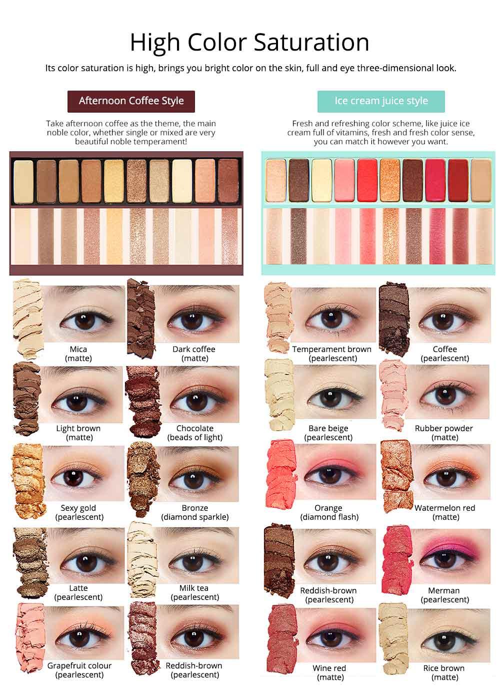 NOVO Ten Color Eye Shadow Palette, Long Lasting Eyeshadow Eye Shadow Kit, Girls Eye Makeup Beauty 2