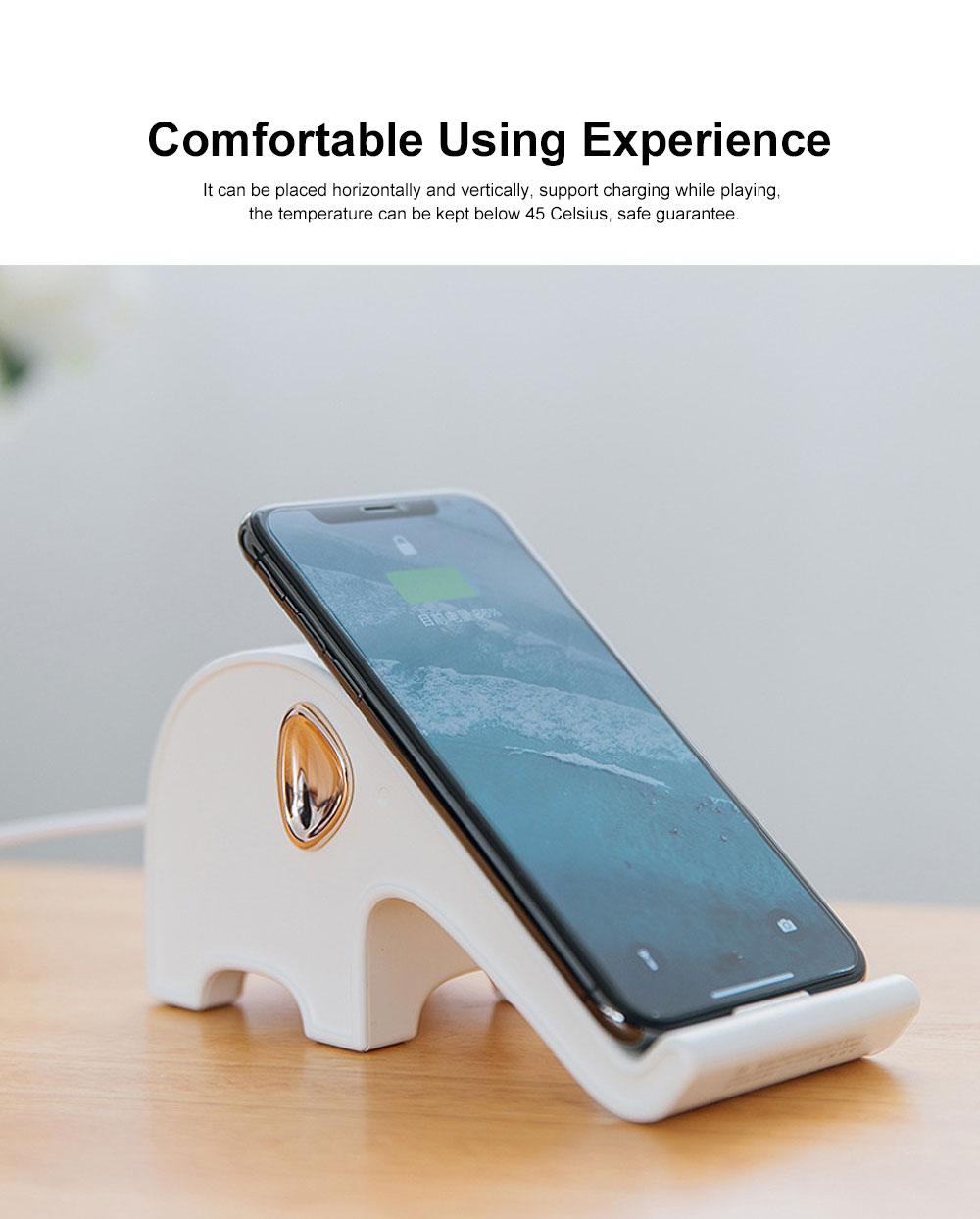 Elephant Wireless Charger Stand Fast Charging Phone Holder Set Base Kit for iphone X, iphone 8, iphone 8 Plus, Samsung, Nexus, Nokia etc 2