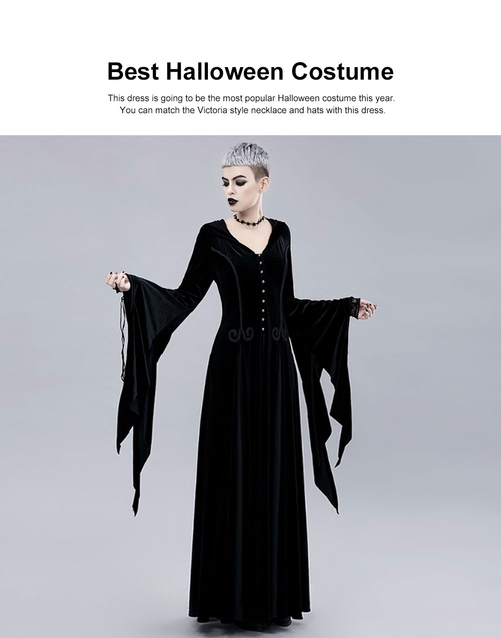 Women Gothic Halloween Costume, Renaissance Medieval Cosplay Dress Black, Long Sleeve Hooded Witch Dress Victorian Costume 1