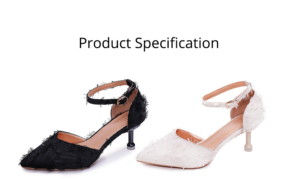 Fine-heeled Pointed High-heeled Shoes, Easy Marching One-word Button Middle Heels, Women's Hollow Sandals 6