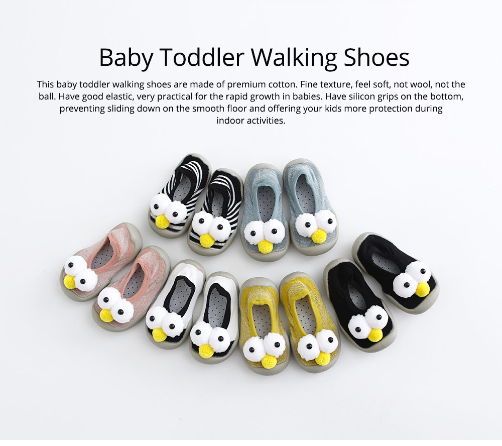 Baby Toddler Walking Shoes, Non-skid Socks Rubber Sole Breathable Cotton Indoor Floor Slipper, Walk Socks Shoes 0