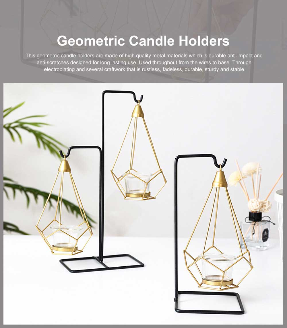 Geometric Candle Holders Modern Hollow Out Metal Iron Hanging Candlestick for Wedding Centerpiece, Table Decorations 0