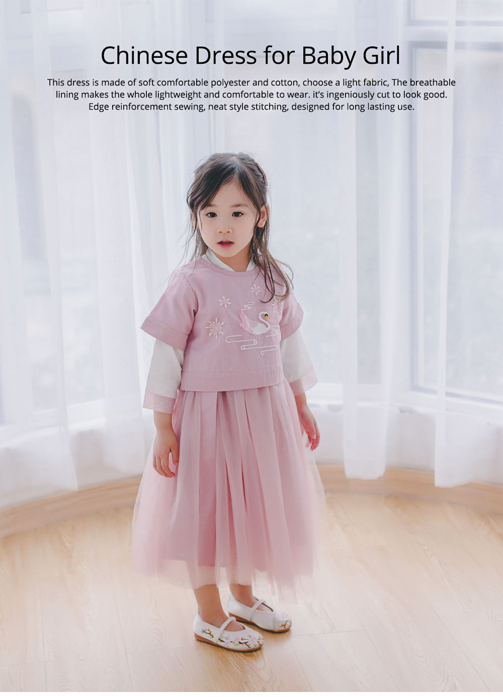 Chinese Dress for Baby Girl, Retro Improved Cheongsam Costume, Genuine Original Embroidered Tops+Tutu Dress 0