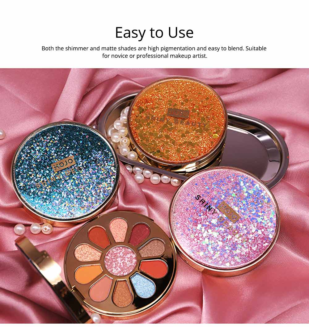 11 Colors Round Eyeshadow Palette, Shiny Palette with Brush, Makeup Tools Best Gifts for Lady, Shimmer Eyeshadow 1