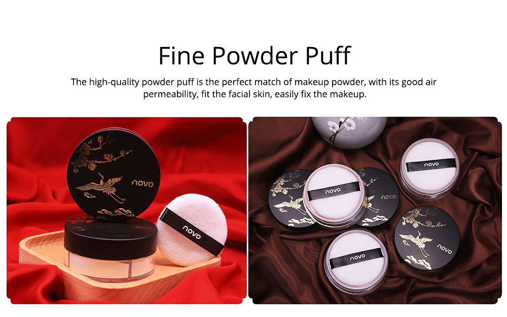 4 Colors Loose Powder Cosmetic, Finishing Powder with Imperial Palace Printed Shell, NOVO Moisture Lasting & Waterproof Powder 5