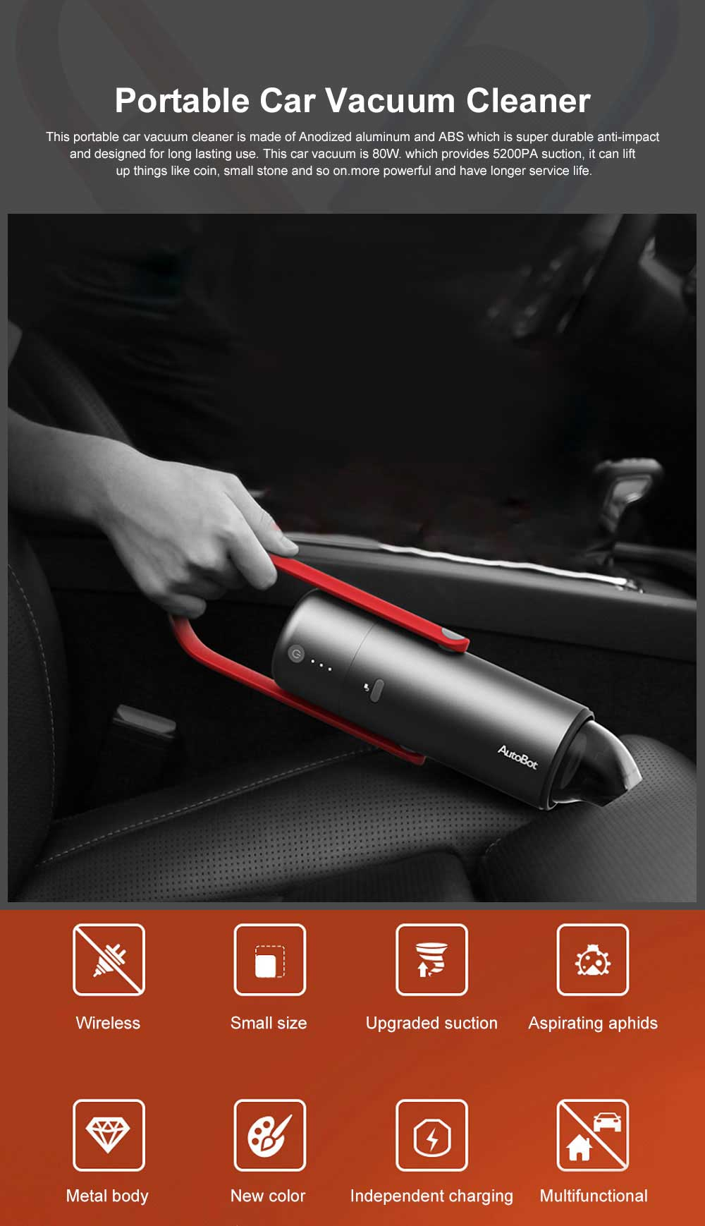 Portable Car Vacuum Cleaner High Power Handheld Car Cleaning Machine for Wool Fabric Dust Dirt Cigarette Ash Leaves Aphids 0