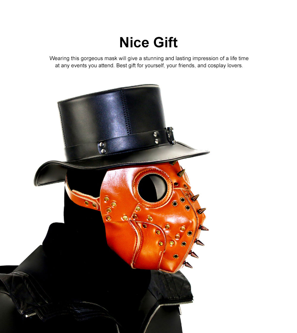 Plague Doctor Bird Head Mask Long Nose Steampunk Rivet Mask Breathable PU Leather Mask for Halloween Costume 2