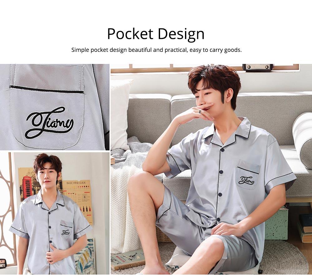 Summer Opener Collar Men's Wear 2019, Simulated Silk Short Sleeve Short Pants Home Suit 2