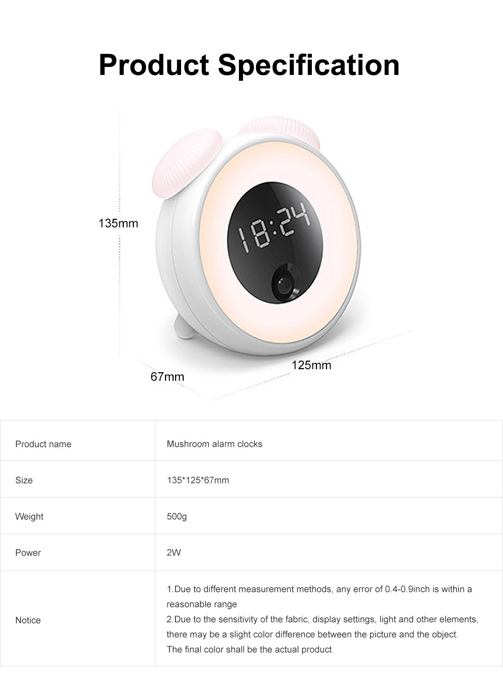 Mushroom Alarm Clocks Digital Alarm Clock Multifunctional Wake Up Intelligent Recognition Sensor Morning Clock with Night Lamp Light Best Gifts for Kids 7