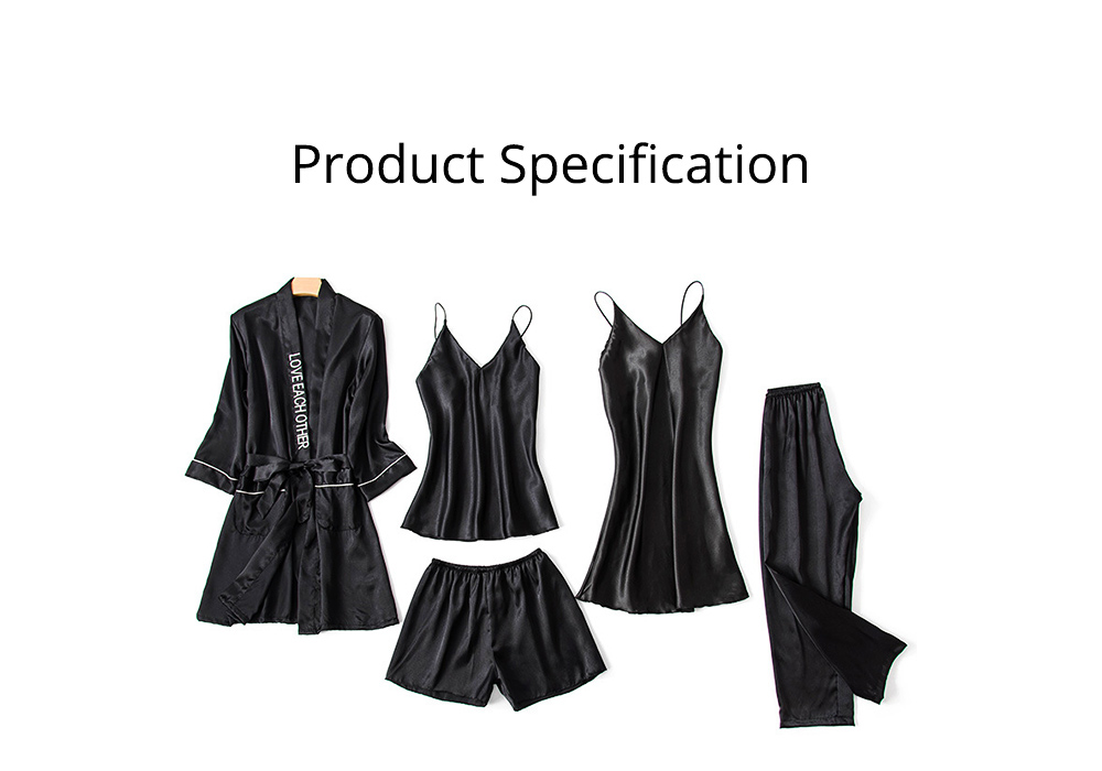 Sexy Pajama Five-piece Set, Korean Version of Women's Pyjamas with Suspenders, Thin Nightgown Style Household Clothes 6