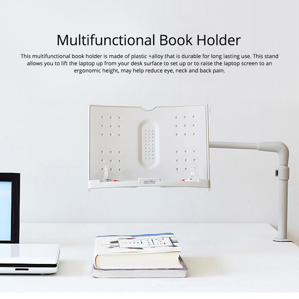 Book Holder with Adjustable Angle, Length, Book Stand 360 Degree Rotatable Stand for Book iPad Laptop Sheet Music 0