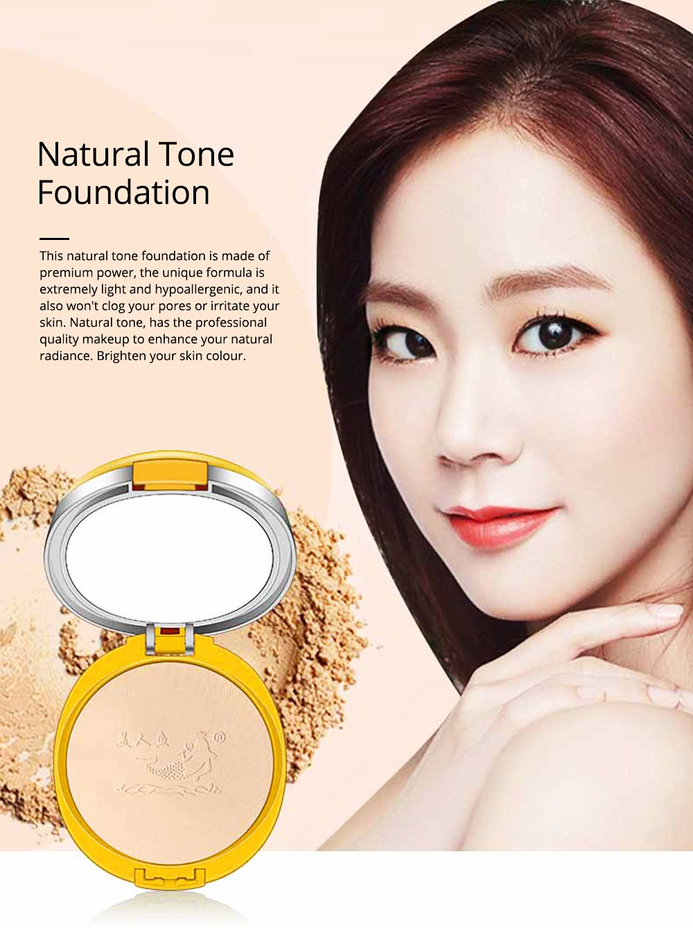 Natural Tone Foundation, Super Blendable Powder, Soft Breathable Concealer wit Dry Wet Use 0