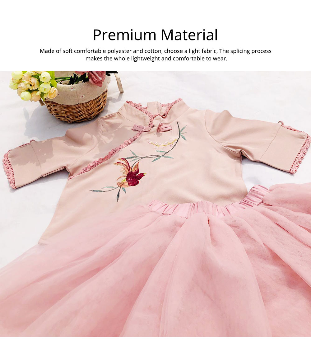 Baby Girls' Ethnic Sets Two-Piece Improved Hanfu Traditional Costume Stand Collar Embroidered Tops + Skirt 3