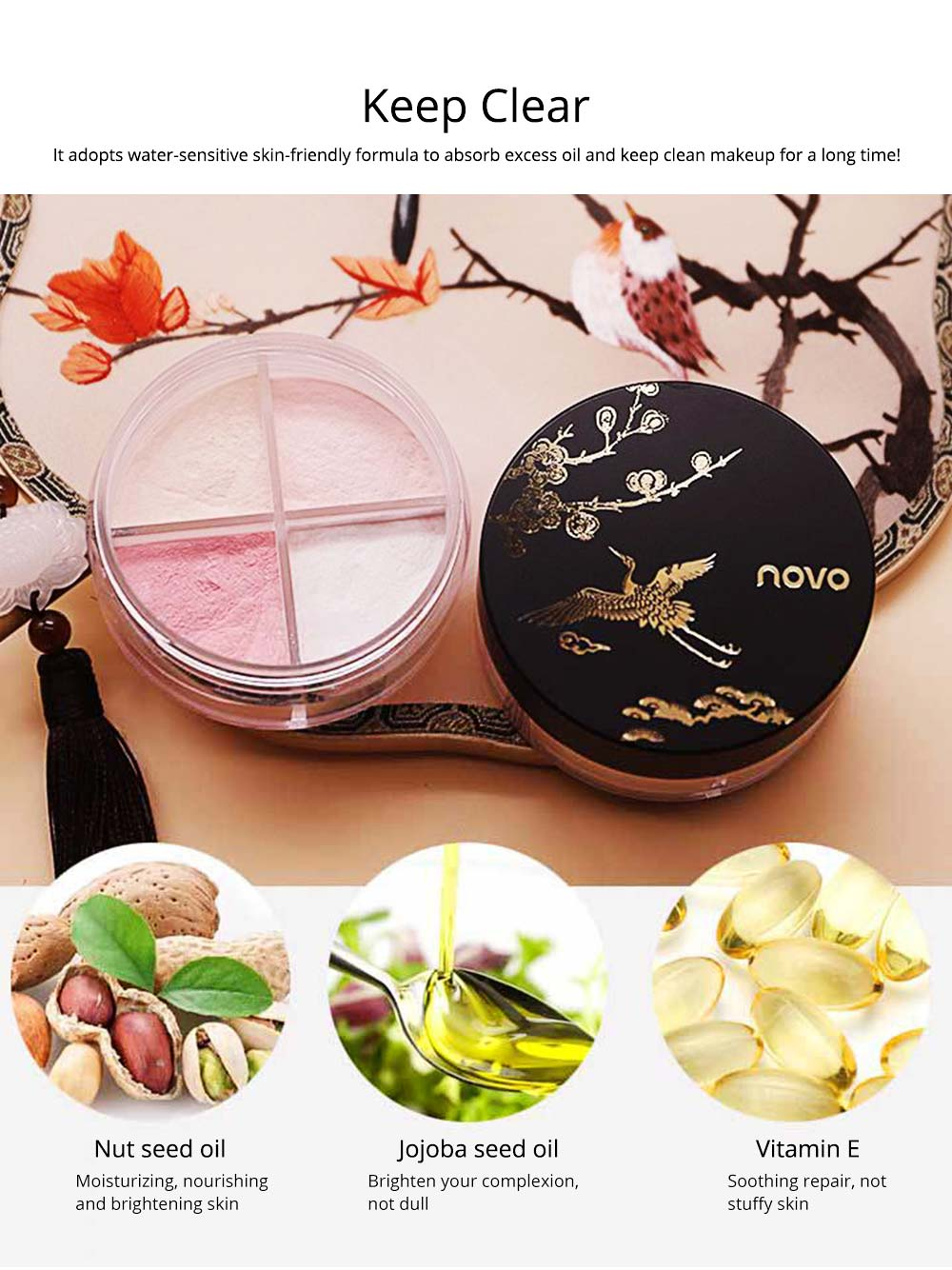 4 Colors Loose Powder Cosmetic, Finishing Powder with Imperial Palace Printed Shell, NOVO Moisture Lasting & Waterproof Powder 1